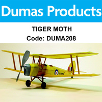 DUMAS 208 TIGER MOTH WALNUT SCALE 17.5 INCH WINGSPAN RUBBER POWERED