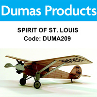 DUMAS 209 SPIRIT OF ST. LOUIS WALNUT SCALE 17.5 INCH WINGSPAN RUBBER POWERE