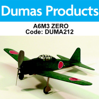 DUMAS 212 A6M3 ZERO WALNUT SCALE 17.5 INCH WINGSPAN RUBBER POWERED