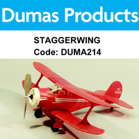 DUMAS 214 STAGGERWING WALNUT SCALE 17.5 INCH WINGSPAN RUBBER POWERED
