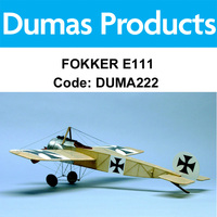 DUMAS 222 FOKKER E111 WALNUT SCALE 17.5 INCH WINGSPAN RUBBER POWERED