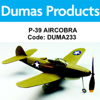 DUMAS 233 P-39 AIRCOBRA WALNUT SCALE 18 INCH WINGSPAN RUBBER POWERED