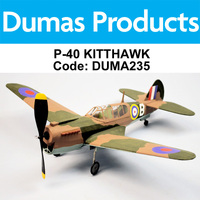 DUMAS 235 P-40 KITTHAWK  WALNUT SCALE 18 INCH WINGSPAN RUBBER POWERED