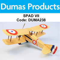 DUMAS 238 SPAD VII  WALNUT SCALE 18 INCH WINGSPAN RUBBER POWERED