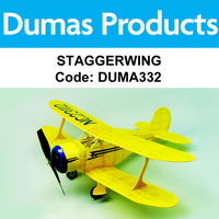 DUMAS 332 STAGGERWING  30 INCH WINGSPAN RUBBER POWERED