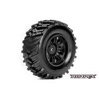 MORPH 1/10 SC TIRE BLACK WHEEL WITH 12MM HEX MOUNTED