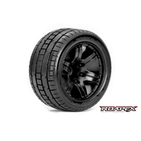 TRIGGER 1/10 STADIUM TRUCK TIRE BLACK WHEEL WITH 1/2 OFFSET 12MM HEX MOUNTED