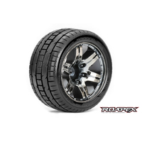 TRIGGER 1/10 STADIUM TRUCK TIRE CHROME BLACK WHEEL WITH 1/2 OFFSET 12MM HEX MOUNTED
