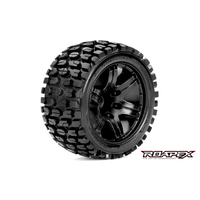 TRACKER 1/10 STADIUM TRUCK TIRE BLACK WHEEL WITH 1/2 OFFSET 12MM HEX MOUNTED