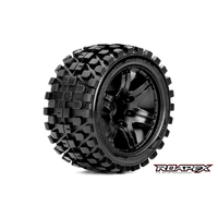 RHYTHM 1/10 STADIUM TRUCK TIRE BLACK WHEEL WITH 1/2 OFFSET 12MM HEX MOUNTED