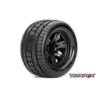 TRIGGER 1/10 MONSTER TRUCK TIRE BLACK WHEEL WITH 1/2 OFFSET 12MM HEX MOUNTED
