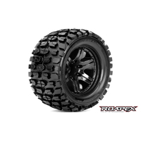 TRACKER 1/10 MONSTER TRUCK TIRE BLACK WHEEL WITH 1/2 OFFSET 12MM HEX MOUNTED
