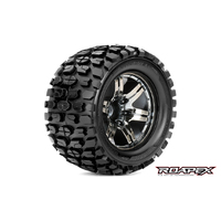 TRACKER 1/10 MONSTER TRUCK TIRE CHROME BLACK WHEEL WITH 1/2 OFFSET 12MM HEX MOUNTED