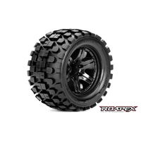 RHYTHM 1/10 MONSTER TRUCK TIRE BLACK WHEEL WITH 1/2 OFFSET 12MM HEX MOUNTED