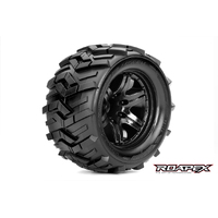 MORPH 1/10 MONSTER TRUCK TIRE BLACK WHEEL WITH 1/2 OFFSET 12MM HEX MOUNTED