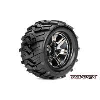 MORPH 1/10 MONSTER TRUCK TIRE CHROME BLACK WHEEL WITH 1/2 OFFSET 12MM HEX MOUNTED