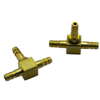 ROBART BRASS AIRLINE TEES FOR 1/8 OD X 1/16 ID AIR LINE (2 PCS/PK. 6 PKS PE